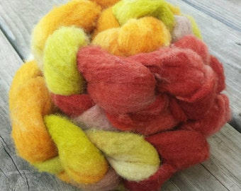 SALE 20% OFF Yarn Hollow Hand Dyed Polypay Roving Monster Fire Multi Color Spin American Wool