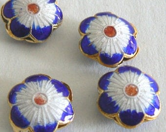 SALE 8 Handmade Cloisonne Beads Open Rounds 14x6mm 6 Petal Flower Bead b2641