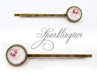 Dandelion Bobby Pins, Pink Dandelion Hair Pins, Brass Bobby Pins, Brass Hair Accessory, Dandelion Hair Clip, Pink Hairpins