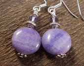 Amethyst purple crazy lace agate stone, swarovski crystal and silver handmade earrings