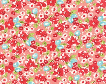 "33"" piece/remnant - Little Ruby - Little Swoon in Coral Pink: sku 55130-13 cotton quilting fabric by Bonnie and Camille for Moda Fabrics"