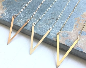 Dainty V Necklace in Sterling Silver Gold Filled or Rose Goldfilled Minimal Chevron Pendant Gift for Best Friend