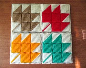 Fall Leaf Coaster/Candle Mat Set of Four Kitchen Home Decor Plastic Canvas