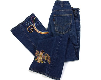 """70s Levi's Big E Bell Bottom Jeans / Vintage Embroidered Orange Tab Levi's / Customized One of a Kind Flares / OOAK / RARE / Hippie Boho 29"""""""