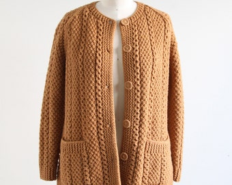 Vintage Brown Knit Sweater with Pockets