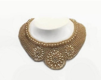 1940's Beaded Collar Choker Necklace, Vintage Faux Pearl Beads with Rhinestones, Made in Japan