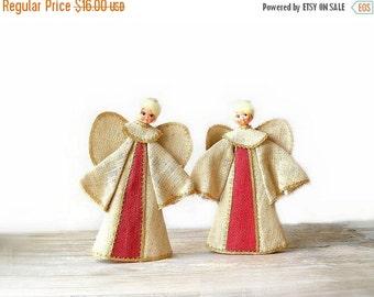 2 Vintage Burlap Christmas Angel Decorations