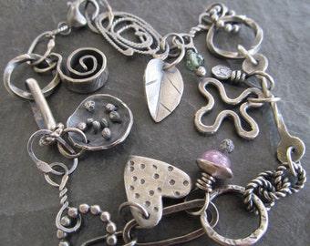 Silver Charm BRACELET Silver Artsy BOHO charm Bracelet Silver Eclectic Charm bracelet Funky Silver Jewelry boho jewelry silver