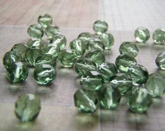 Tourmaline Green Glass Beads Faceted Czech Fire Polish Choice of Size 20 Beads