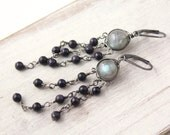 Labradorite and Blue Goldstone Long Chandelier Earrings