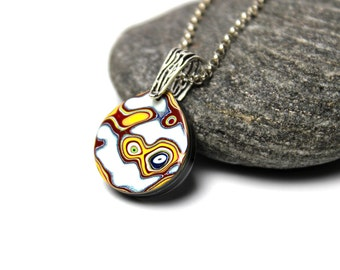 Detroit Fordite Necklace Swirled Recycled Vintage Auto Paint Jewelry Yellow White Silver Teardrop Medallion Sterling USA Retro Mod Upcycled