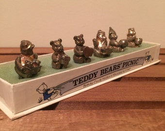 Lunt silver plate birthday candle holders of teddy bear picnic