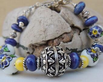 PANSY Handmade Lampwork Bead Bracelet
