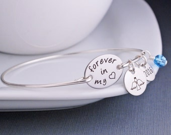 Memorial Jewelry, Forever in My Heart, Remembrance Bracelet, Personalized Memorial Jewelry, Angel Jewelry