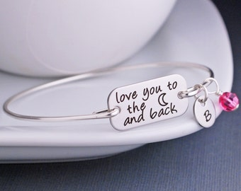 Love You to the Moon and Back Bracelet, Mothe'rs Day Bracelet, Personalized Birthday Gift for Daughter, Silver Bangle