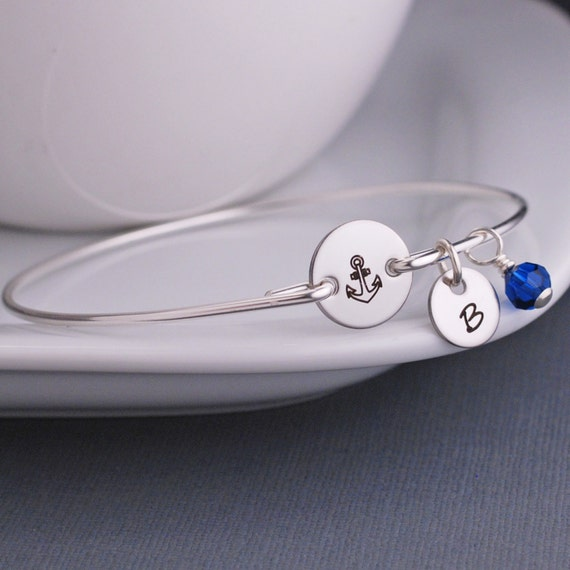 Anchor Bracelet, Nautical Jewelry, Anchor Jewelry, Custom Silver Anchor Bangle Bracelet, Delta Gamma Jewelry, Navy Wife Gift