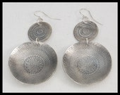 MOROCCAN - Handforged Embossed & Antiqued Moroccan Design 2 Section Dramatic Pewter Earrings
