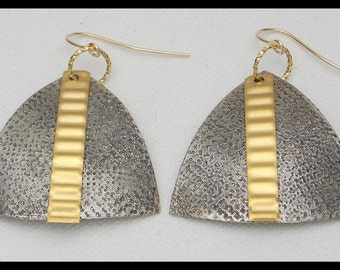 PYRAMIDS - Handforged Pewter & Bronze Dramatic Statement Earrings
