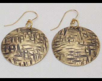 BRONZE BASKETWEAVE - Handforged Hammered Antiqued and Domed Bronze Earrings
