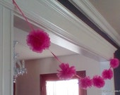 reveal baby shower decoration garland, birthday party tissue garland, 9 ft pink tissue pom pom garland, 6 pink pompoms on ribbon garland
