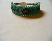 Native American Style loomed Pony tail barrette in green and fire colors