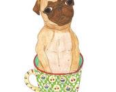 Dog Lover Gift, Pug Art Print, Dog Art, Funny Animal Art, Coffee Lovers Gift, Coffee Decor, Gift for Dog Lover, Dog Wall Art, Dog Artwork