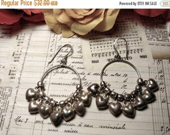 SALE TODAY 1980s Vintage Long Sterling Silver Puffed Puffy Heart Cluster Chandelier Circle Earrings Pierced Charms