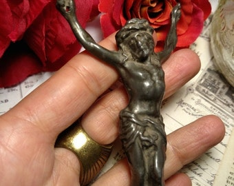 SALE TODAY Old Antique Darkened Metal Crucifix Fragment Jesus Crucifixion Figure Worn Weathered Religious Relics