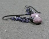 Lavender Cluster Earrings Phosphosiderite Earrings Oxidized Sterling Silver Earrings Violet Earrings