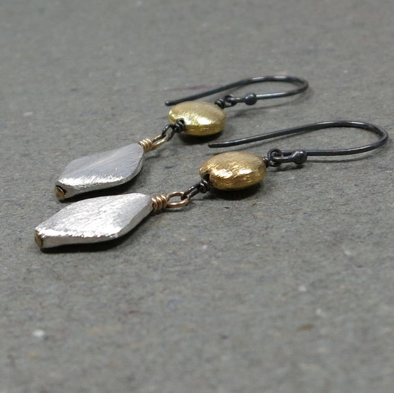 Silver and Gold Earrings Mixed Metal Dangle Earrings Sterling Silver Vermeil Brushed Finish Beads
