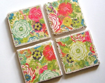 Tumbled Stone Earth Coasters - Cabbage Rose Garden - art papers, botanical home decor, flowers, roses, tiles, stone, natural, wedding gift