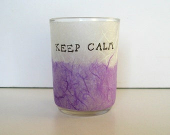 Illuminated Earth Light - KEEP CALM - candle, candle holder, glass, handmade paper, white and purple, word, text, home décor, modern, ooak