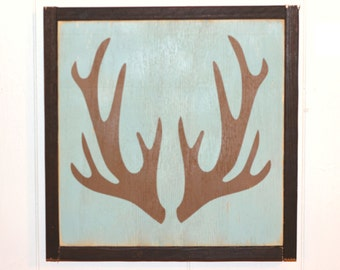"made to order Large Framed Antlers Sign | 13"" handpainted wood sign 