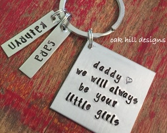 Always be your little girls keychain-father daughter keychain-daddy's girl keychain-personalized dad keychain-fathers day gift