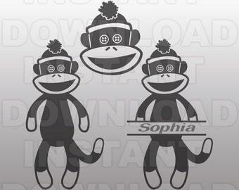 Sock Monkey SVG File - Sock Monkey Monogram SVG - Commercial & Personal Use - Vector svg file for Cricut,svg file for Silhouette,vinyl cut