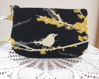 Wedding Clutch Wristlet Zipper Gadget Purse Pouch in Songbirds in Black and Gold