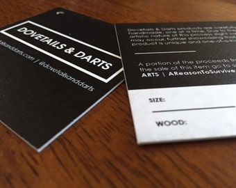 """50 Custom Printed 2.5"""" Square Hangtags  - Great High End Quality - Professionally Printed - SUPER THICK 34pt Cardstock"""