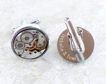 Personalized Vintage Round Watch Movement Steampunk Cufflinks