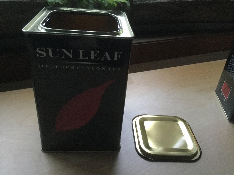 Empty metal tea tin tall square storage bin container box for Black box container studios