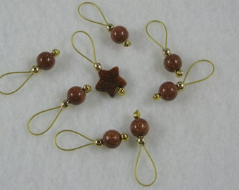 Gold Star Gemstone Stitch Markers - US 5 - Item No. 947
