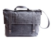 waxed canvas cross body bag - Messenger no.3 - in gray and teal