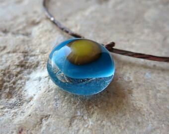 Pretty Fused Glass Bangle, Charm Bangle, Charm Bracelet, Fused Glass Bracelet, Blue and Green Bangle, Made in France