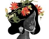 Wildflower Crown Art Print (0001), Floral Silhouette Illustration, Boho Bride with Flower Crown Wall Art