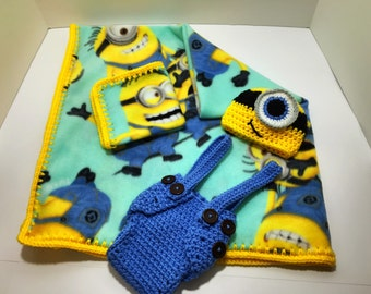Minion Print Crochet Trim Fleece Baby Blanket with Matching Hat, Diaper cover Overalls and Lovey. Ready to ship.