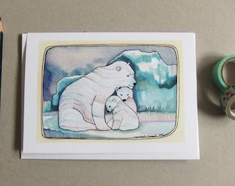 Greeting Card - Polar Bear Card - Blank Greeting Card - Everyday Card - Card for Mom - Card for Dad - Polar Bears - Polar Bear Family
