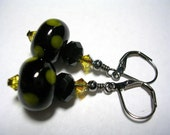 Lime and Black Lampwork and Swarovski Crystal Earrings Wire Wrapped Gunmetal Leverback Hooks Lampwork Crystal Dangle Earrings Gifts under 5