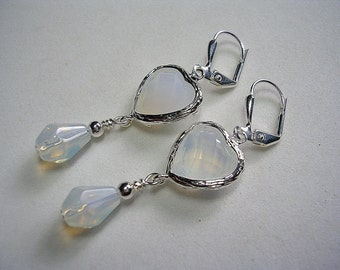 Moonstone Opalite Heart Earrings Silver Plate Leverback Hooks Wire Wrapped Delicate White Opal Silver Dangle Earrings