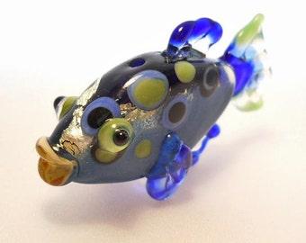 Cobalt blue trout glass fish bead necklace, Lampwork Glass Beads, shiny 'tiddly winks' ocean handmade focal bead, jewelry supplies, SRAJD