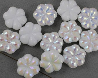 White Czech glass flower beads with aurora borealis finish - 17mm x 15mm - FB102