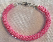 Pink kumihimo glass bead braided Bracelet Strong Silk Breast Cancer Magnetic Clasp